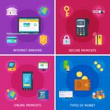 Financial Technology Flat Concept. Financial technology flat orthogonal colorful icons square concept with internet banking online payments security isolated Royalty Free Stock Photo