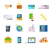 Financial Technology Icons. Financial technology orthogonal flat icons set with credit cards online banking and automated teller machine isolated vector Stock Photos