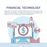 Financial technology infographic. Online financial technology infographic vector illustration graphic design Royalty Free Stock Images