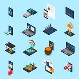 Financial Technology Isometric Icons. Online account, lending, cash transaction, crypto currency mining, bill payment isolated vector illustration Stock Images