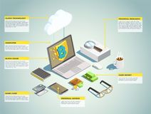 Financial Technology Isometric Layout. With blockchain bank card cash money personal access decorative icons vector illustration Stock Photos