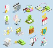 Financial Technology Isometric Set. With online banking  credit card stack of banknotes bitcoin mining decorative icons isolated vector illustration Stock Photos