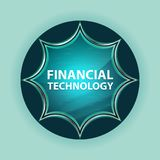 Financial Technology magical glassy sunburst blue button sky blue background stock image