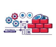 Financial technology security icons. Vector illustration design Royalty Free Stock Images