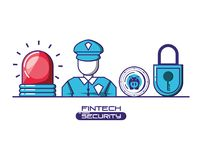 Financial technology security icons. Vector illustration design Stock Photo