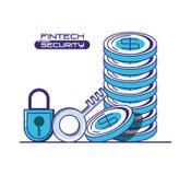 Financial technology security icons. Vector illustration design Stock Photos