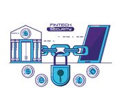 Financial technology security icons. Vector illustration design Stock Images