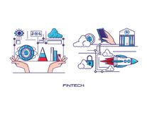 Financial technology set icons. Vector illustration design Stock Images