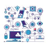 Financial technology set icons. Vector illustration design Royalty Free Stock Images