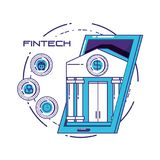 Financial technology set icons. Vector illustration design Royalty Free Stock Photos