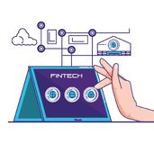 Financial technology set icons. Vector illustration design Stock Photos