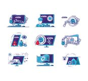 Financial technology set icons. Vector illustration design Royalty Free Stock Photo