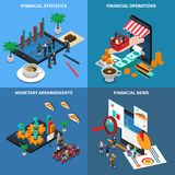 Financial Technology Isometric Design Concept. Financial technology, statistics and economy news, monetary arrangements, trading operations, isometric design Stock Photography