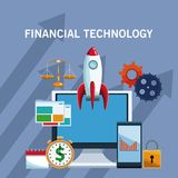 Financial technology tools. On computer vector illustration graphic design Royalty Free Stock Photography
