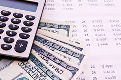 Financial things - calculator, money, digits. Some financial things - calculator, money, digits Royalty Free Stock Images