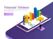 Financial Thinkers concept, financial advisor analysis company m. Onetary fund on smartphone screen, isometric design for responsive landing page vector illustration