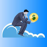 Financial thinking business concept. Pensive businessman in business suit with dollar sign in his hand sitting on the cloud thinking about profits and Royalty Free Stock Photo