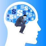 Financial thinking business concept. Pensive businessman in business suit thinking inside human brain filled with dollar signs . Vector illustration. Use as Stock Photography