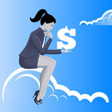 Financial thinking business concept. Pensive business woman in business suit with dollar sign in her hand sitting on the cloud. Business thinking, profit and Royalty Free Stock Image