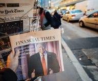 Financial Times au sujet de nouveau Etats-Unis président de Donald Trump Images stock