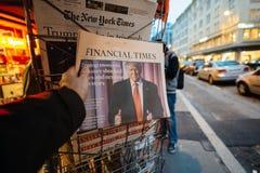 Financial Times au sujet de nouveau Etats-Unis président de Donald Trump Image libre de droits