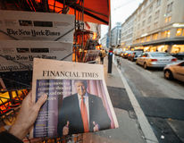 Financial Times about Donald Trump new USA president Royalty Free Stock Image