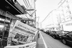 Financial Times newspaper near INternational editions press kios Stock Image