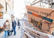 Financial Times newspaper near INternational editions press kios Royalty Free Stock Photography