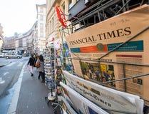 Financial Times newspaper near INternational editions press kios Royalty Free Stock Photo