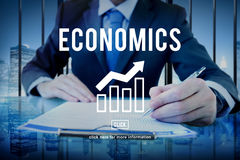 Financial Trade Economics Financial Graphic Concept. Business People Checking Financial Trade Economics stock photo