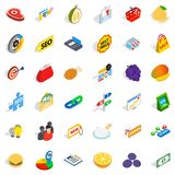 Financial trading icons set, isometric style. Financial trading icons set. Isometric set of 36 financial trading vector icons for web isolated on white Royalty Free Stock Photo