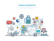 Financial transactions. Contribution money, currency deposits, money exchange, transfers. Financial transactions. Actions with non-cash, cash forms. Pos Stock Images