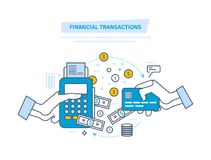 Financial transactions, cashless operation on payment. Pos terminal, payments systems. Financial transactions, cashless operation on payment. Pos terminal and Royalty Free Stock Image