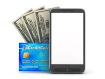 Financial transactions by mobile phone. Concept illustration Royalty Free Stock Images