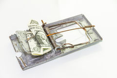 The financial trap on wood and white background. Stock Photography