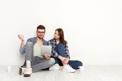Financial trouble, couple unhappy at seeing the bills Stock Images