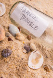 FINANCIAL TROUBLE Message In A Bottle II Stock Photo