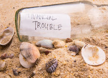 FINANCIAL TROUBLE Message In A Bottle III Stock Photography