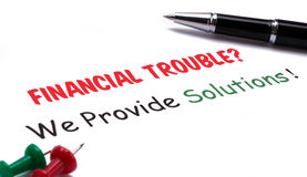 Financial troubles?we provide solutions! Royalty Free Stock Images
