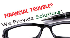 Financial troubles?we provide solutions! Royalty Free Stock Photos