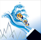 Financial Tsunami. The finance system has been destroyed by financial tsunami Stock Photos