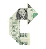 Financial U-Turn. Dollar bill folded in the shape of a U-turn symbol arrow, isolated on a white background Royalty Free Stock Image