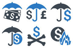 Financial Umbrella Flat Vector Icons Royalty Free Stock Images