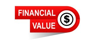 Financial value banner. Icon on isolated white background - vector illustration Royalty Free Stock Photography