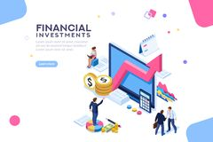 Financial Value Management Flat Isometric Infographic. Balance financial value, management and administration concept. Characters, people engineering a plan Royalty Free Stock Image