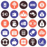 Financial Vector flat icons set. Banks and finances, deposits and credits. Objects isolated on white background Royalty Free Stock Photos