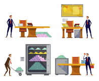 Financial Wealth Compositions Set. Set of compositions with financial worker doodle characters carrying stacks of money to safe cash box vector illustration Royalty Free Stock Photos