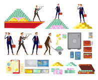 Financial Wealth Elements Set. Set of  financial wealth cartoon images of clerk characters cash pyramids safe boxes and suitcases vector illustration Royalty Free Stock Photo