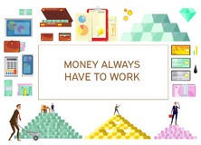 Financial Wealth Horizontal Banner. Financial wealth banner with flat isolated images of money pyramids credit cards and office worker characters vector Stock Photos