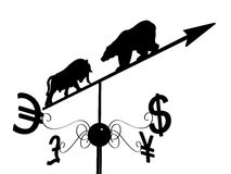 Financial weather vane. With a bull, bear and dollar, euro, pound sterling and yen symbols over white Royalty Free Stock Photos